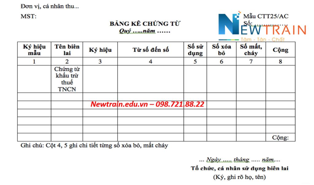 Mẫu báo cáo tình hình sử dụng chứng từ khấu trừ thuế TNCN